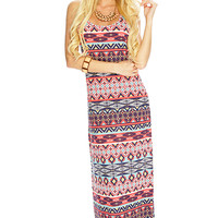 Coral Mint Printed Pattern Casual Maxi Dress