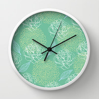 Pastel Peony and Leaf Pattern Design Wall Clock by Zany Du Designs