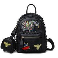 University College Backpack Embroidery Elephant  Mini Fashion  Schoolbag Small Leisure Travel s Rivet Women Daypack Shoulder BagAT_63_4