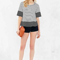 Cooperative Colorblock Striped Flutter Tee- Black