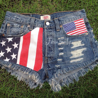American flag shorts High waisted denim