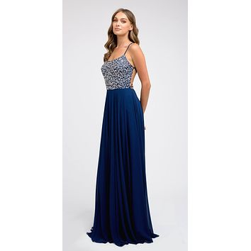 Navy Blue Long Beaded Prom A-Line Dress Strappy-Open-Back