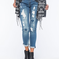 Hydraulic Ripped Womens Slouchy Skinny Jeans Medium Wash  In Sizes
