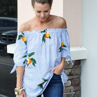 Off The Shoulder Citrus Top - Blue