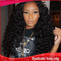 2016 Fashion Natural Wigs Hot Selling Jet Black Natural Wave Lace Front Wig Heat Resistant kinky curly Synthetic lace front wig