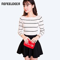 Refeeldeer High Elastic Striped Jumper Women 2017 Autumn Winter Women Sweaters And Pullovers Female Tricot Pull Femme Winter Top
