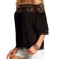 Off Shoulder Hollow Out Lace Loose Cute Patchwork Women Blouse Women Tops And Blouses 2016 New Fashion Ladies Tops And Blouses