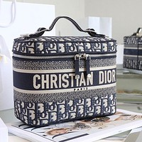 Diortravel Bois de Rose canvas embroidered rattan check cosmetic bag