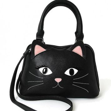 Satchel - Flirty Cat Black Satchel Handbag