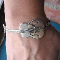 $18.00 guitar baracelet  silver acoustic by friendlygesture on Etsy