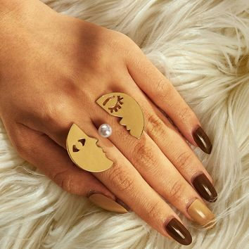 Moon Shaped Link Cuff Ring 1pc