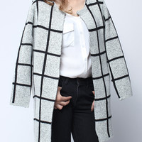 'The Janelle' Black And White Plaid Knit Cardigan