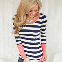 Patches of Coral Striped Top