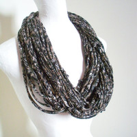 Black Brown White Infinity Scarf Tribal Gypsy Geometric Print Upcycled Winter Accessories Gifts Under 75 Black Friday Etsy Cyber Monday Etsy