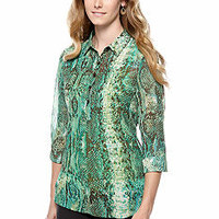New Directions® Long Sleeve Printed Chiffon Blouse