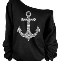 Off the Shoulder Long Sleeve Black Trendy Anchor Slouch Sweater One Shoulder