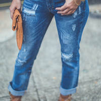 Cuffed Boyfit Jeans in Dark Denim