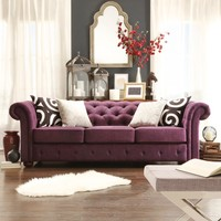 TRIBECCA HOME Knightsbridge Linen Tufted Scroll Arm Chesterfield Sofa   Overstock.com Shopping - The Best Deals on Sofas & Loveseats