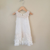 "The ""Charlotte Two"" Vintage Lace Pearl Collar Dress Flower Girl"