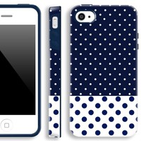 iphone 4s cases for girls,Akna Glamour Series [Flexible TPU]*[High Impact]*[Polka Dots Pattern] Soft Back Cover for iPhone 4 4S - [Dark Blue Polka Dots]** Indestructible