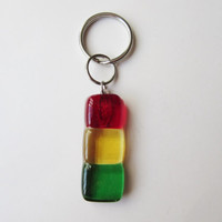 Rasta Keychain, Rastafarian Accessory, Rasta Colored Key Fob, Summertime Accessory, Purse Charm, Handbag Charm, Gift Under 10, Unisex Gift