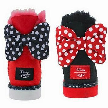 UGG Fashion Winter Women Bowknot Flat Warm Snow Ankle Boots Shoes