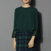 Flare Lace Trimmed Chiffon Top in Green Green S/M