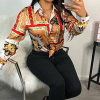 Versace Fashion Leisure Rich Printed Long Sleeve Shirts