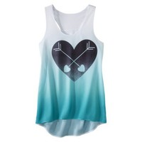 Juniors Heart High Low Graphic Tank - Turquoise