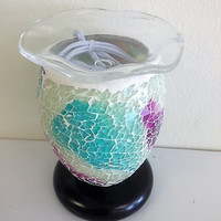Vitral Mosaic silver/Pink /Blue lamp, aromatic oil burner, wax melter