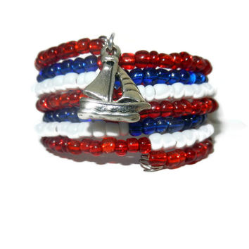 Red, White and Blue Beaded Memory Wrap Bracelet with Sailboat Charm