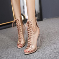 Free shipping summer women's cross strap sexy PVC Clear Transparent Strappy Bandage Sandals High Heels Shoes Woman sandals