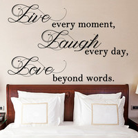 Live Laugh Love Quote Wall Sticker Vinyl Decal for Living, Dining Room or Bedroom. Art DIY Decor Thoughts Mural!