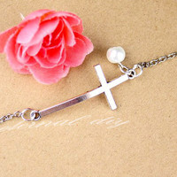 Transverse cross bracelet, jewelry, side side way cross bracelet, lane cross, side cross bracelet
