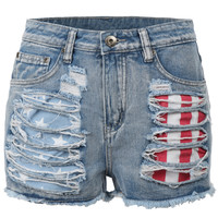 Womens Casual High Waisted Distressed Destroyed Cut Off Denim Shorts