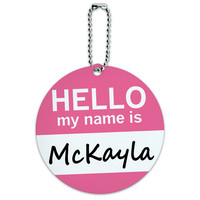 McKayla Hello My Name Is Round ID Card Luggage Tag