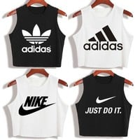 """""""Nike"""" """"Adidas""""New Summer Fashion Casual Classic Letter Print Round Neck Sleeveless Vest T-shirt Crop Tops"""