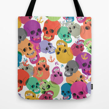 Skulls And Anchors Tote Bag by Ornaart
