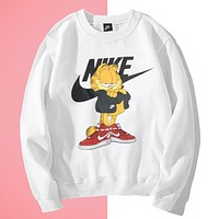 NIKE & Garfield New fashion letter hook cat long sleeve sweater White