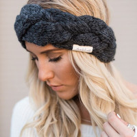 Chunky Braided Charcoal Hair Band