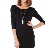 Cozy 3/4 Sleeve Dress in Black - ShopSosie.com