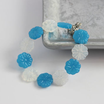 CLEARANCE - Blue and Opaque White Beaded Flower Bracelet - Handmade Jewelry - One of a Kind - Ready to Ship