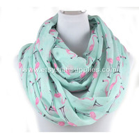 Flamingo Infinity Scarf, Infinity Scarf, Stylish Infinity Scarf, Green Infinity Scarf, Winter Accessory, Gifts for Her,Christmas gift