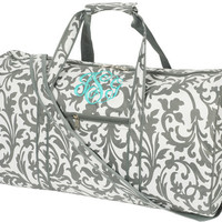 "Bags - Monagramed Large DUFFLE BAG, Grey Floral Monogrammed with your Initials. Size 17"" L x 10"" W x 9""H"