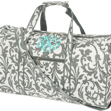 """Bags - Monagramed Large DUFFLE BAG, Grey Floral Monogrammed with your Initials. Size 17"""" L x 10"""" W x 9""""H"""