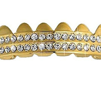 Top Grillz Yellow Gold Finish Row 2 Row Removeable
