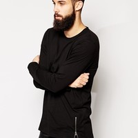 ASOS Longline Long Sleeve T-Shirt With Stepped Hem And Zip Detail