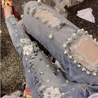 new high quality lace hole diamond beading embroidered denim skinny jeans personality jeans