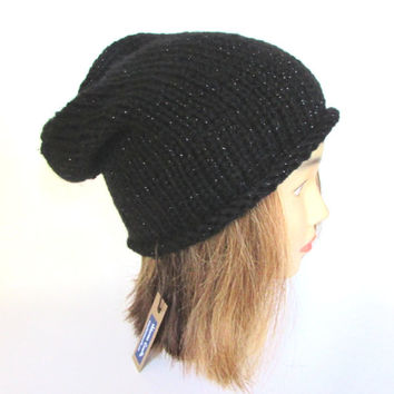 Slouchy beanie hat black slouch hat metallic knit slouchy hat Irish knit accessory for women sparkly hat christmas gift for her fun hat