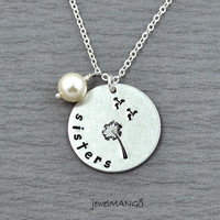 Dandelion Sisters Necklace Silver Personalized hand stamped Necklace birth stone, big sis, little sis, lil sis, sisters jewelry,make a wish